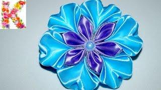 getlinkyoutube.com-канзаши для начинающих,мастер класс,DIY kanzashi tutorial flower