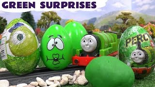 getlinkyoutube.com-Learn Colours Surprise Eggs Play Doh Thomas and Friends Cars Avengers Green Colors Toy Story Percy