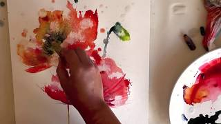 getlinkyoutube.com-watercolour aquarelle poppies poppy painting demo