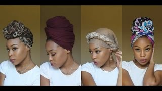 getlinkyoutube.com-4 Quick & EASY Headwrap/Turban Styles (Short Natural Hair & TWA Friendly)