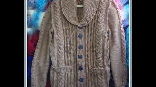 getlinkyoutube.com-Жакет с шалевым воротником.Часть 1. Полочки.Men's knitted jacket