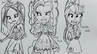 getlinkyoutube.com-PEN CHALLENGE| The Dazzlings~ Equestria Girls Rainbow Rocks MLP FIM Drawing | Yitsune Melody