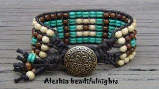 getlinkyoutube.com-Five Row Beaded Cuff Wrap Bracelet Tutorial