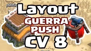 Melhor Layout para CV 8 COM DISPERSOR AÉREO para GUERRA / PUSH | Clash of Clans - Gelli Clash