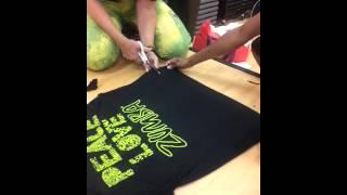 getlinkyoutube.com-How to cut a one-shoulder Zumba T-shirt