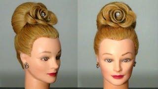 """getlinkyoutube.com-Прическа """"Бабетта"""" с розой, цветок из волос. Hair made rose."""