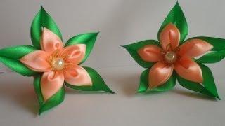 getlinkyoutube.com-Зелёная звезда резиночка для волос канзаши / Green star hairband kanzashi