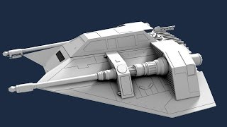 getlinkyoutube.com-Star Wars Snowspeeder - Blender 3D speed modeling