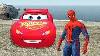 getlinkyoutube.com-Disney Pixar Cars - Spiderman with Lightning Mcqueen & Nursery Rhymes Songs