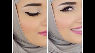 getlinkyoutube.com-Eyebrows & Eyeliner tutorial .. كيفية رسم الحواجب والايلاينر