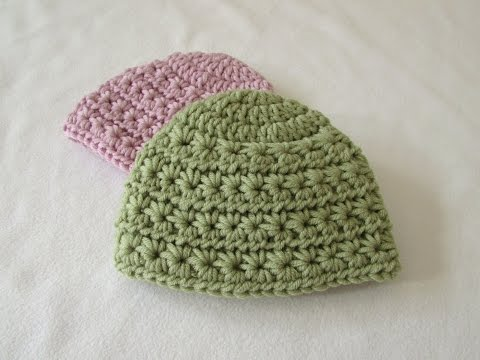 How to crochet a chunky star stitch baby hat