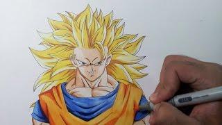 getlinkyoutube.com-Drawing Goku SSJ3 - Super Saiyan 3