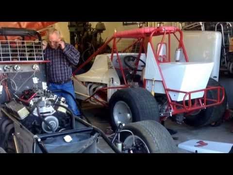 Bill Cundiff's vintage super modified sprint car, at the garage of sponsor Lowe's Auto Service.