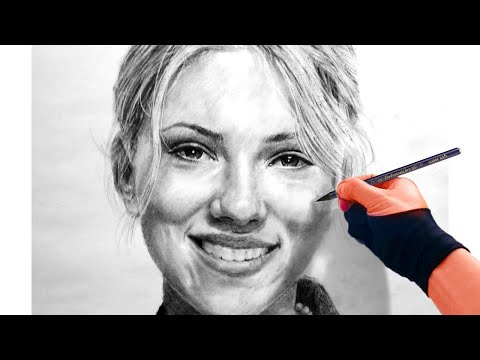 Charcoal speed drawing Scarlett Johansson