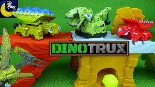getlinkyoutube.com-Rare Dinotrux Toys! Wrecka, Drago, Camo Ty Rux, Smash & Slide Construction Site Playset Toys!