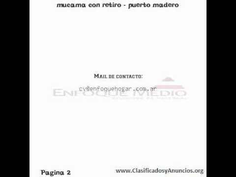 mucama con retiro - puerto madero fecha: 7 de octubre de 2011
