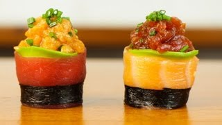getlinkyoutube.com-Spicy Tuna Salmon Sushi Roll - Beautiful Food Recipe