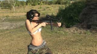 Cute Girl Shoots FNC MP5 Mini UZI Gun Bikini