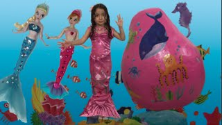 getlinkyoutube.com-Frozen Elsa + Anna Giant Egg Surprise + Barbie + Ariel + Dora The Explorer Mermaids Dolls Toys Video