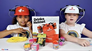 getlinkyoutube.com-Freaky Gross Soda Challenge! Drinks Helmet Guessing Game - Shopkins - Gummy Candy - Surprise Eggs