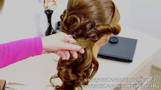 getlinkyoutube.com-Prom bridal hairstyle for medium long hair.