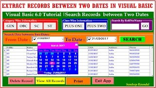 Visual Basic 6.0 Tutorial   Search Records between Two dates using DataGrid and DTPicker Control width=