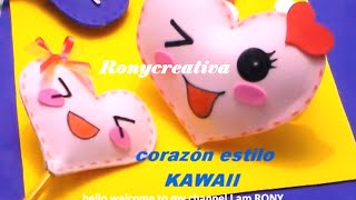 getlinkyoutube.com-KAWAII CORAZON DE FOMI 3D / KAWAII HEART DIY