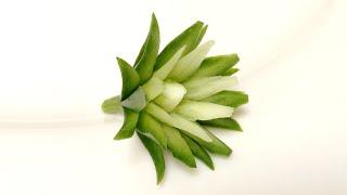 getlinkyoutube.com-Cucumber Spiked Petal Flower - Intermediate lesson 21 - By Mutita Art Of Fruit Vegetable Carving Vid