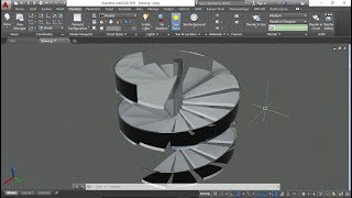 Stairscase design in autocad 3D - Spiral shaped (with commands)