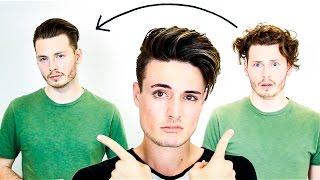 getlinkyoutube.com-Mens Hair - Curly to Straight Hair | Mens Slick Back Tutorial 2016