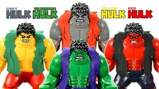 LEGO The Hulk vs Red Hulk vs Grey Hulk vs Yellow Hulk KnockOff Big Figures Marvel Superheroes