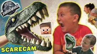 getlinkyoutube.com-Jurassic World Scare Cam + Minecraft & Box Stair Cam (FUNnel Vision Velociraptor Fun)