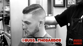 getlinkyoutube.com-Side Part Hair Cut | Russ the Barber 2015