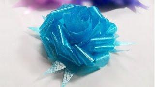 getlinkyoutube.com-How to make ribbon Rose? วิธีพับดอกกุหลาบจากริบบิ้น
