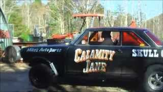 "getlinkyoutube.com-SKULL GARAGE...2015 ""CALAMITY JANE"" 64 GASSER CARPET,LINE LOCK,1ST TIME UP THE ROAD NOV 11 2015"