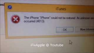 Fix iphone 5 5S 6 4013 error on itunes