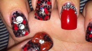 getlinkyoutube.com-Red & Black Acrylic Nail Tutorial
