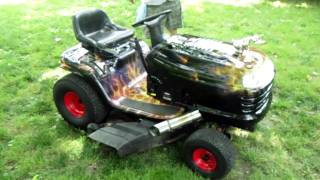 getlinkyoutube.com-Hot Rod Lawn Tractor Update - Harley Exhaust Installed and Working