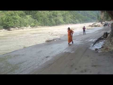 Crossing the Marine Drive at Byasi, Rishikesh on 18th June, 2013