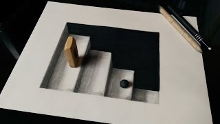 How to Draw 3D Stairs (3D Ladders) - Optical Illusion