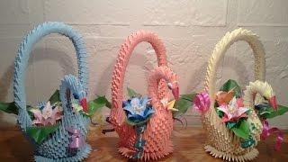 getlinkyoutube.com-How to make 3D origami swan basket