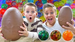 Giant Gummy Orbeez Challenge! Unexpected Chocolate Surprise Egg Fun! Orbeez Crush Messy Taste Test