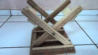 getlinkyoutube.com-Banquinho dobrável - tamborete de madeira portátil -  portable wood folding stool