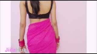 getlinkyoutube.com-Step By Step Ramp Model Saree Show/How To Wear Modern Fashionable Sari/Blouse