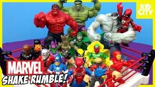 getlinkyoutube.com-Marvel Superhero Toys Shake Rumble with Spiderman Toys Hulk Deadpool & Avengers   KIDCITY