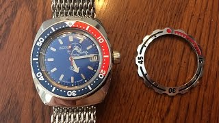 getlinkyoutube.com-Vostok Amphibia Pepsi Bezel & Band Modifications