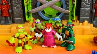 getlinkyoutube.com-Imaginext Samurai Castle TMNT teenage mutant ninja turtles save splinter and fight Ninjas