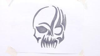 getlinkyoutube.com-How to draw skull tribal tattoo