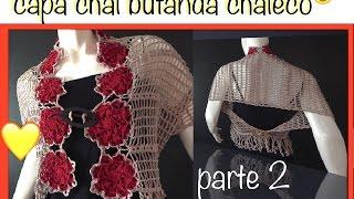 getlinkyoutube.com-Chal Capa Bufanda y más con motivos flor 8 pétalos ganchillo crochet Shawl Cape DIY Parte 2 de 2