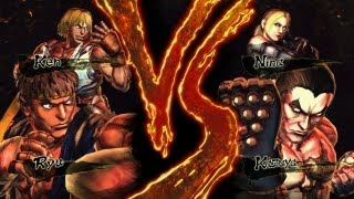 getlinkyoutube.com-Street Fighter x Tekken Ryu & Ken vs Kazuya & Nina (HD 1080p)